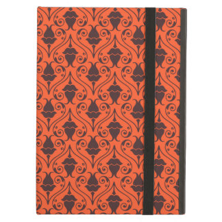 Orange and Brown Fuchsia Floral Damask Pattern iPad Air Covers