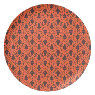 Orange and Brown Fuchsia Floral Damask Pattern Party Plate