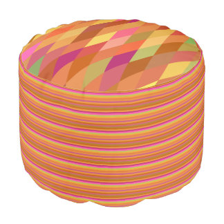 Orange and Brown Harlequin and Stripes Round Pouf