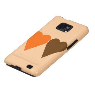 Orange and Brown Love Heart Samsung Galaxy S Case