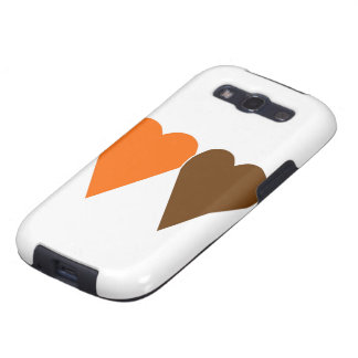 Orange and Brown Love Heart Galaxy S3 Covers