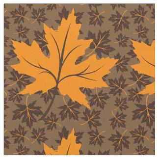 Orange and brown maple leaves fall custom fabric