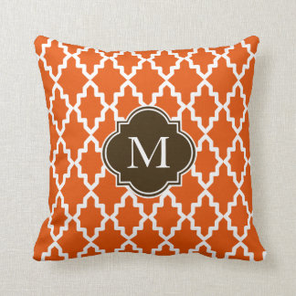 Orange and Brown Moroccan Monogram Cushion