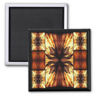 Orange And Brown Retro Pattern Square Magnet