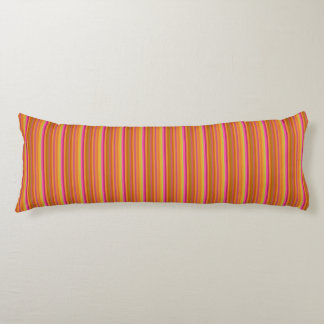 Orange and Brown Striped Pattern Body Pillow