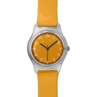 Orange and Brown Wrist Watch