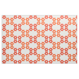 Orange and Burnt Orange Floral Pattern Fabric