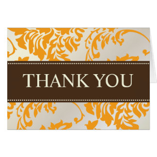 Orange and Chocolate Damask Thank You Note Cards