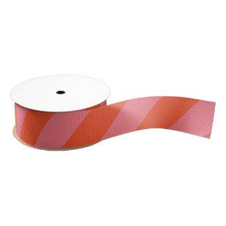 Orange and Coral Pink Wide Stripe Grosgrain Ribbon