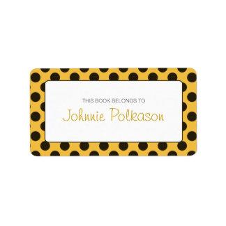Orange and Dark Brown Polka Dot Bookplate Address Label