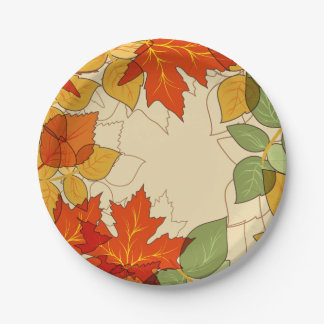 Orange and Gold Autumn Leaves 7 Inch Paper Plate