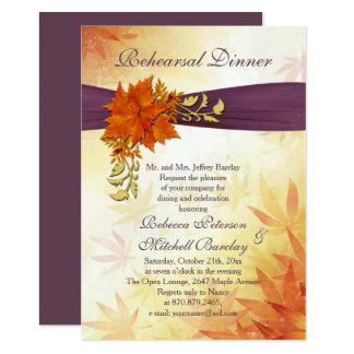 Orange and gold Autumnal leaves Rehearsal Dinner 13 Cm X 18 Cm Invitation Card