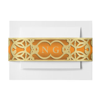 Orange and Gold Belly Band Invitation Belly Band