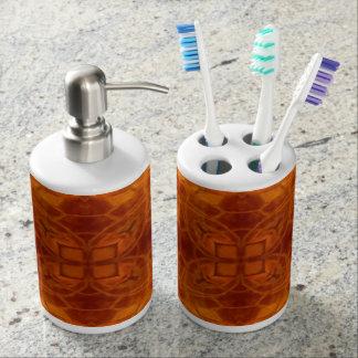 Orange and gold design toothbrush & soap holder. bath accessory sets