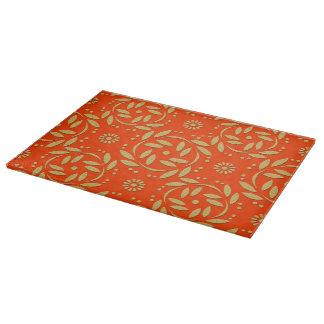 Orange and Gold Floral Pattern Cutting Boards