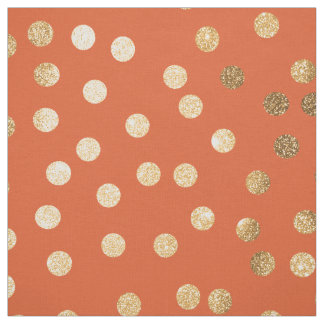 Orange and Gold Glitter City Dots Fabric