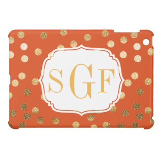 Orange and Gold Glitter City Dots Monogrammed Case iPad Mini Cases