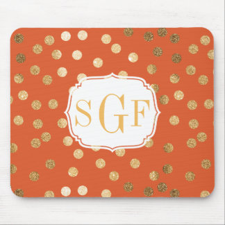 Orange and Gold Glitter City Dots Mousepad