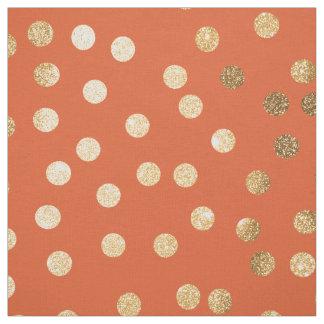 Orange and Gold Glitter City Dots Fabric