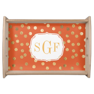 Orange and Gold Glitter Dots Monogram Tray Food Tray