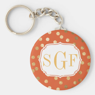 Orange and Gold Glitter Monogram Key Chain