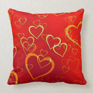 Orange and Gold Hearts on Red Throw Pillow