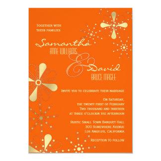 Orange and Gold Indian Inspired Wedding 13 Cm X 18 Cm Invitation Card