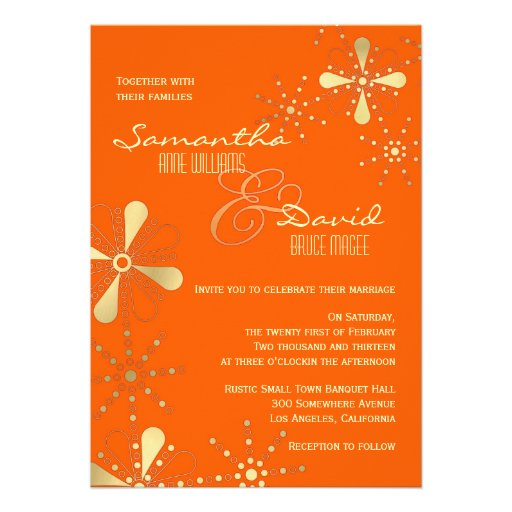 Orange and Gold Indian Inspired Wedding Cards