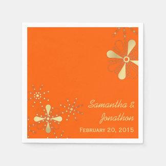 Orange and Gold Indian Inspired Wedding Napkins Paper Napkin