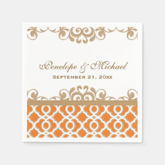 Orange and Gold Moroccan Wedding Paper Napkin