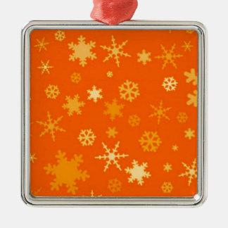 Orange And Gold Stars Festive Silver-Colored Square Decoration