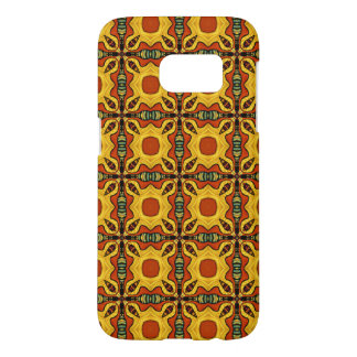 Orange and Gold Tribal Pattern of Squares