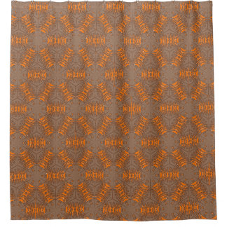 Orange and Gray Brown Mocha Shower Curtain