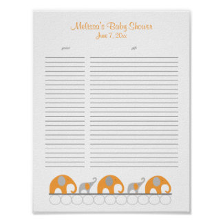 Orange and Gray Elephants Baby Shower Gift List Poster