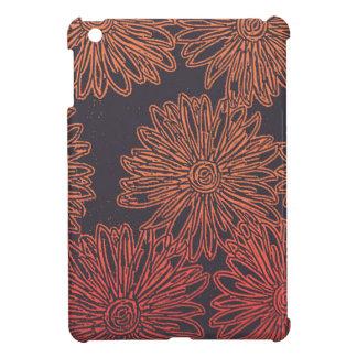 Orange and gray floral graphic iPad mini cases