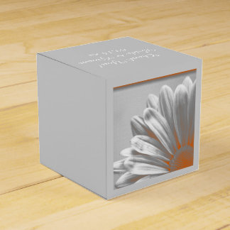 Orange and Gray Floral Highlights Wedding Favour Boxes