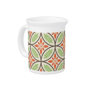Orange and Green Floral Pattern Pitcher