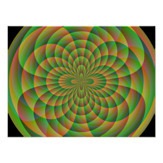 Orange and Green Kaleidoscope Poster