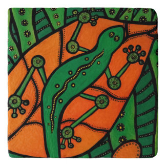 Orange And Green Lizard Trivet