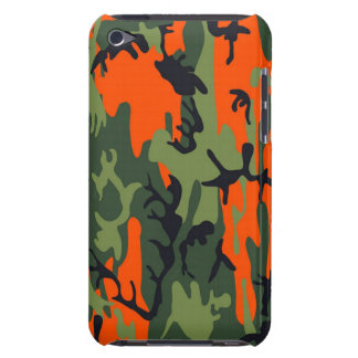 Orange and Green Military Camouflage Textures Barely There iPod Case