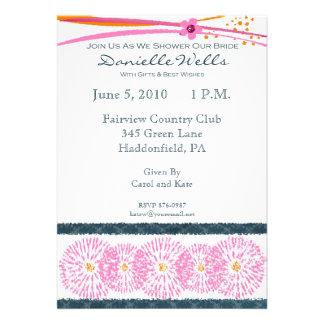 Orange and Pink Bridal Shower Invitaitons Personalized Invitation