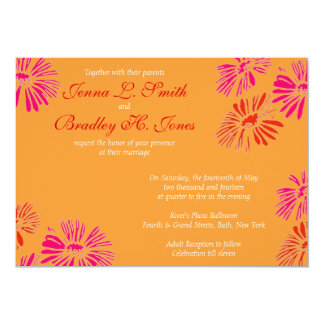 Orange and Pink Daisy Invite