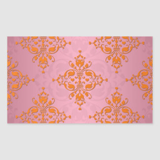 Orange and PInk Damask Pattern Rectangular Sticker