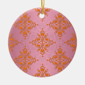 Orange and PInk Damask Pattern Round Ceramic Decoration