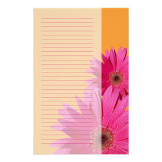 Orange and Pink Gerbera Daisy Stationery