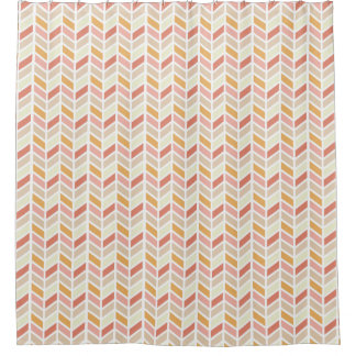 Orange and Pink Herringbone Pattern Design Shower Curtain