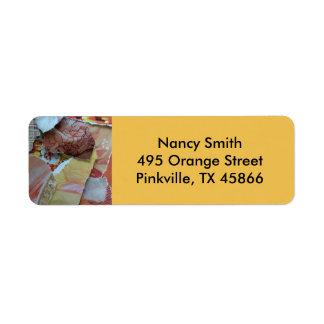 Orange and Pink Papers Label Return Address Label