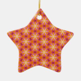 Orange and Pink Pattern Ceramic Star Decoration