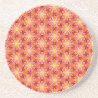 Orange and Pink Pattern Drink Coaster