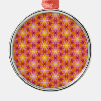 Orange and Pink Pattern Silver-Colored Round Decoration